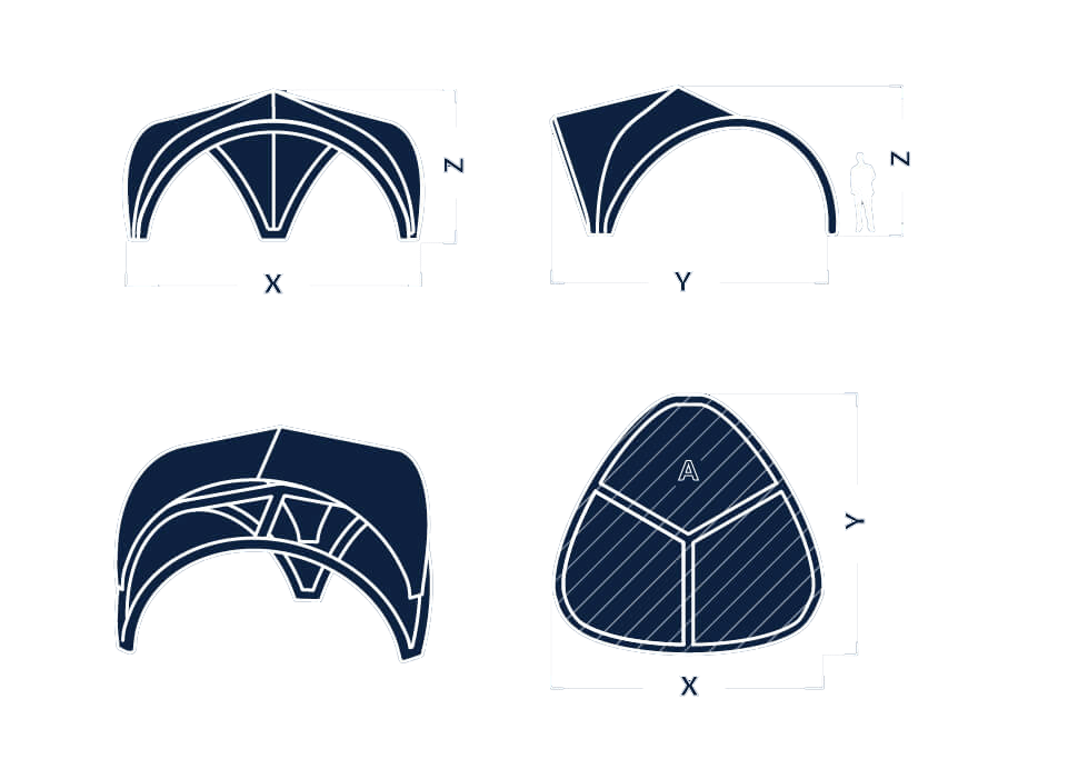 Information sketch of Tripod shape inflatable for event tent